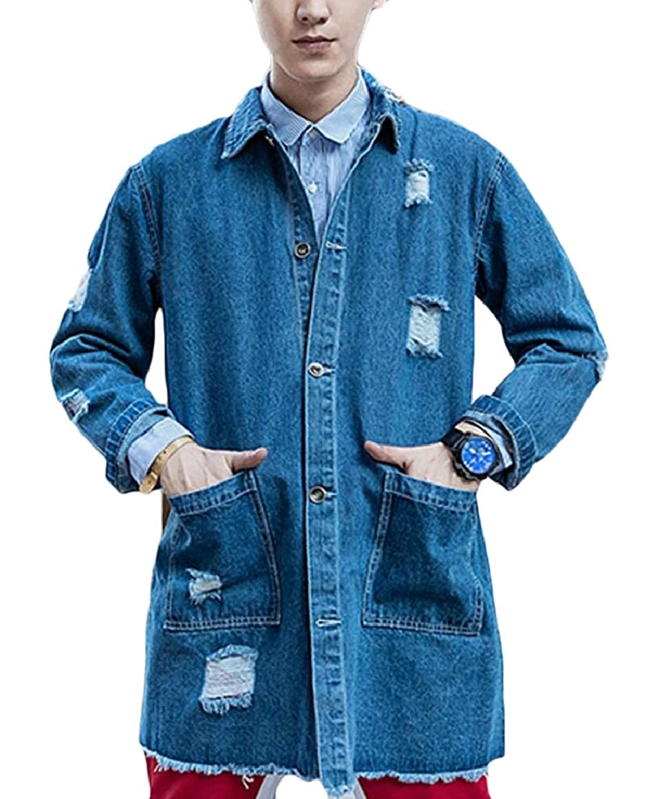 bluee pujingge-CA Mens Long Sleeve Button Down Casual Loose Hole Washed Denim Jacket