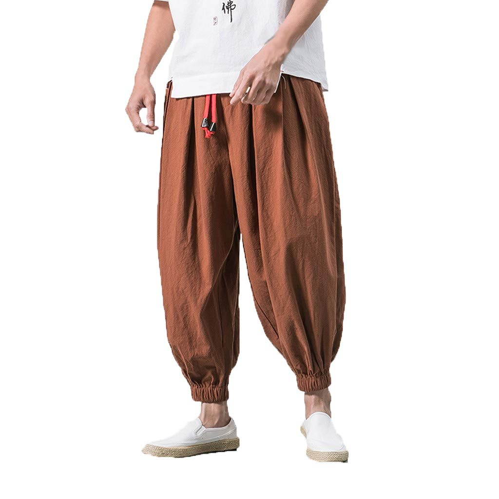 Sunyastor Men's Cotton Harem Yoga Baggy Boho Pants Casual Pants Drawstring Loose Fit Harem Pants Wide-Legged Pants Coffee by Sunyastor men pants (Image #1)