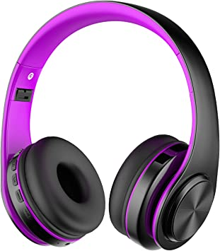Amazon Com Alitoo Bluetooth Headphone Over Ear Wireless Hifi Stereo Headset Foldable Built In Microphone Noise Cancelling For Smart Tv Pc Android Mobile Phone Tablets Black Purple Electronics
