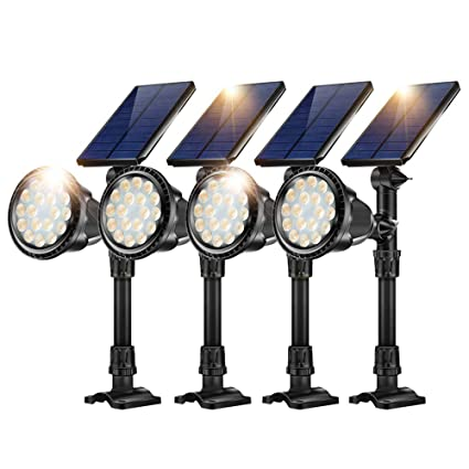 JSOT Solar Outdoor Ground Landscape Lights,Adjustable Solar Powered  Spotlights Waterproof Flood Lights with Bright 18 LED Yard Spot Light Wall  Mounted