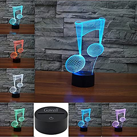 3D Illusion Lamp Gawell Night Light Piano Note 7 Changing Colors Touch USB Table Nice Gift Toy (Meditation Claw Bell)