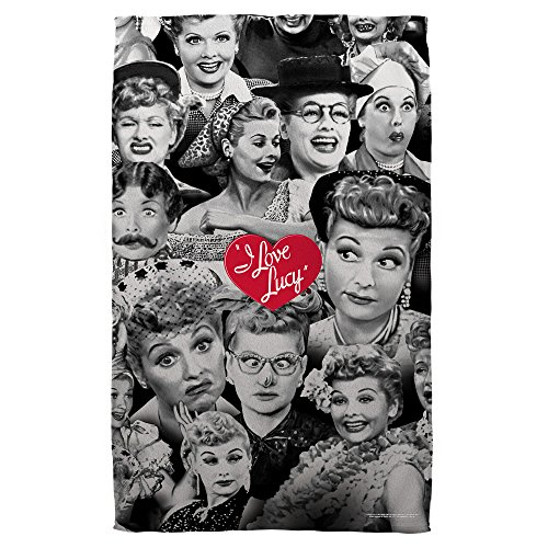 Lucy Faces Beach Towel White 36X58