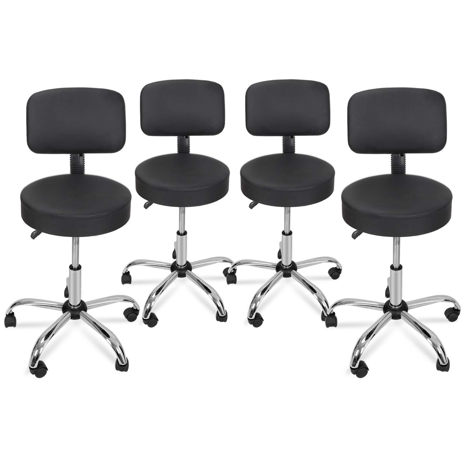 Nova Microdermabrasion Adjustable Hydraulic Rolling Swivel Salon Stool Chair Tattoo Massage Facial Spa Stool Chair with Back (PU Leather Cushion) Black 4pcs