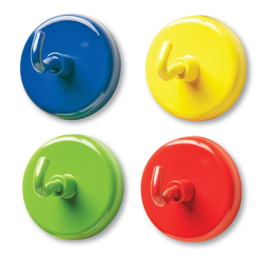 Learning Resources Super Strong Magnetic Hooks, Set of 4, Assorted Colors, 1'' Diameter by Learning Resources