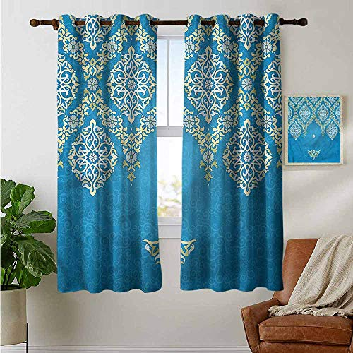 fengruiyanjing Windows Decor Curtain Panel Custom Panels for Girls Boys, Damask, Traditional Ottoman Flower (Set of 2 Panels)