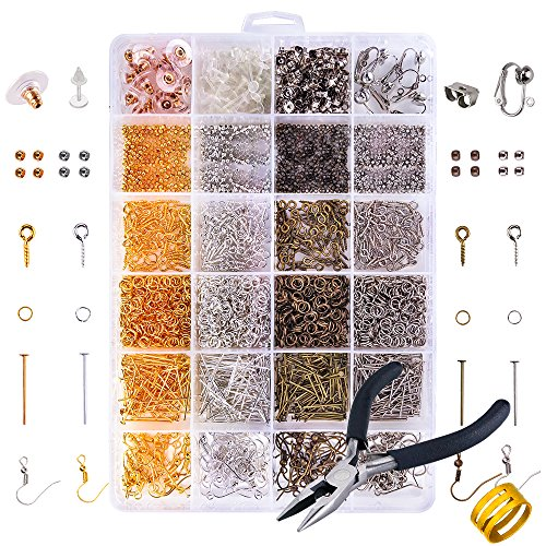 OPount 2758 Pieces Jewelry Making Kit and Earring Repair Kits with Earring Hooks Earring Backs Open Jump Rings Head Pins Crimp Beads Screw Eye Pins for Making and Repairing Earrings