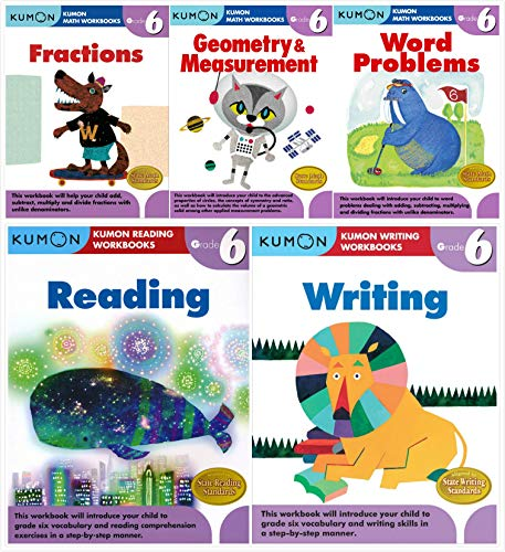 Kumon Workbooks Grade 6 Complete Set (5 Books) - Fractions, Geometry&Measurement, Word Problems, Reading, Writing (Complete Set Grade)