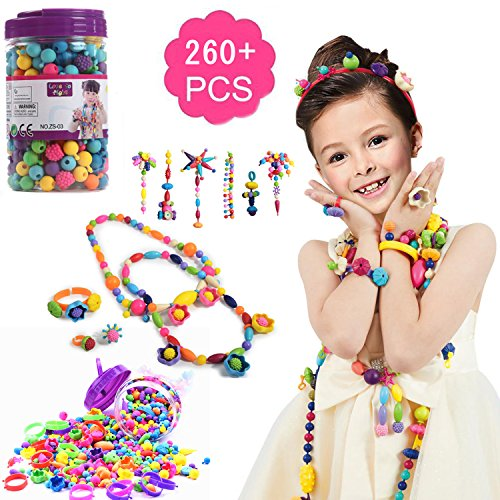 Craft Christmas Gift (Pop Snap Beads Set -DIY Jewelry Kit for Girls Necklace and Bracelet Art Crafts Gifts for Girls Ideal Christmas & Birthday Gifts for Girls(260pcs))