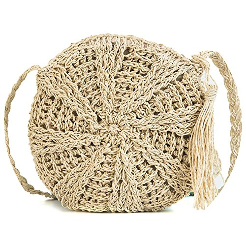 2018 personality Messenger simple fashion Beige tassel rattan woven bag single shoulder bag qFanqHS