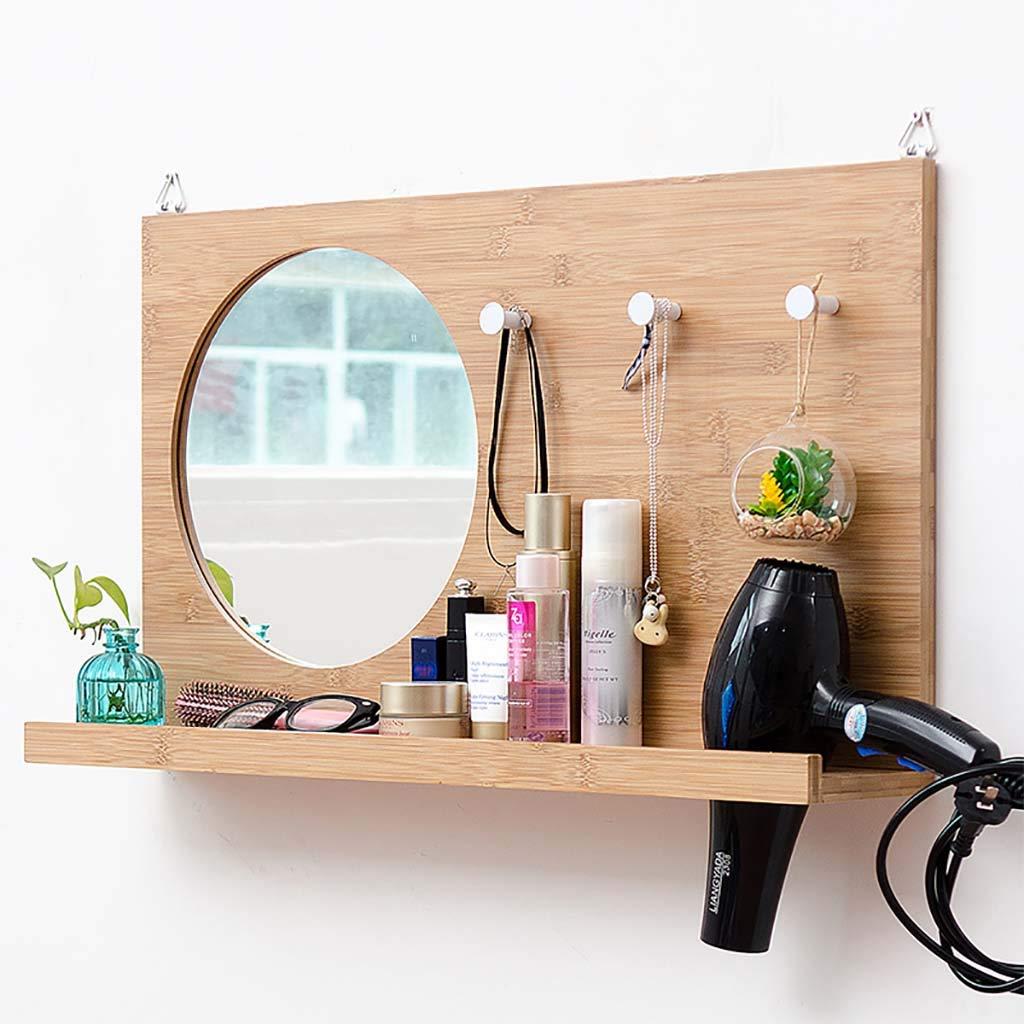 ミラー浴室壁掛け化粧鏡耐久性のある竹棚ラック防水防湿ヘアドライヤーラック付きフック - 70 * 40 * 13.5 cm B07M6NHQ51