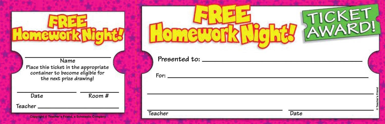 Scholastic Free Homework Night Ticket Awards (TF1617)