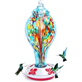 kemalida Hummingbird Feeders for Outdoors, 36 Ounces Hand Blown Glass Hummingbird Feeder with Upgraded Leak Proof Round Metal