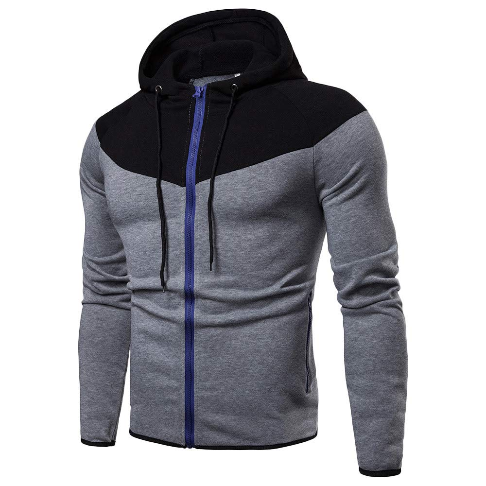 UJUNAOR Fashion Men's Long Sleeve Autumn Winter Patchwork Zipper Hoodies Top Blouse Tracksuits