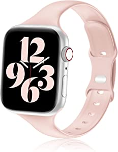 Seizehe Compatible with Apple Watch Band 38MM 40MM 42MM 44MM Women, Soft Silicone Slim Thin Narrow Replacement Strap Compatible for iWatch SE Series 6/5/4/3/2/1