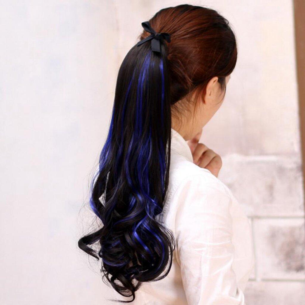 Longless Abgestufte gefärbt Pony Hexe lange Haare Damen gebändert Big Wave Puff Plissee Spitze