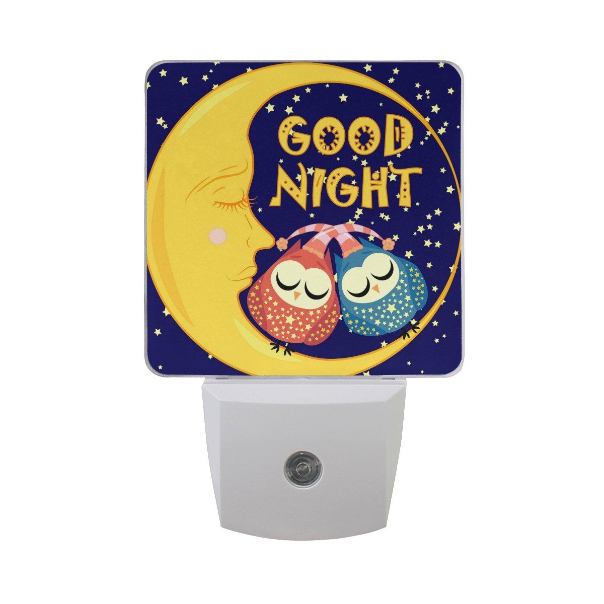 JOYPRINT Led Night Light Good Night Cute Owl Moon Star, Auto Senor Dusk to Dawn Night Light Plug in for Kids Baby Girls Boys Adults Room