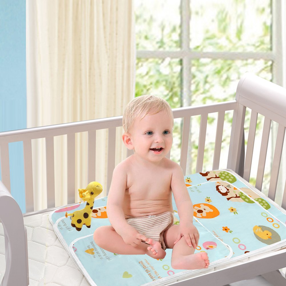 Hellblau, XL - 80 x 110 cm Atmungsaktiv Wiederverwendbare Urin Matte Abdeckung Waschbar 2 St/ück Wasserdicht Wickelunterlage f/ür Babys und Kleinkinder