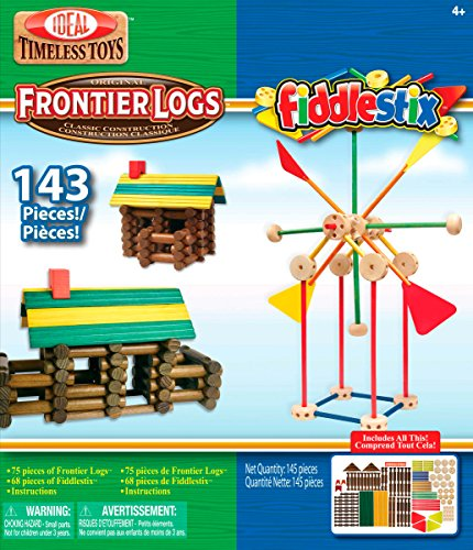 Ideal Frontier Logs and Fiddlestix 143 Piece Classic Wood Building Set -