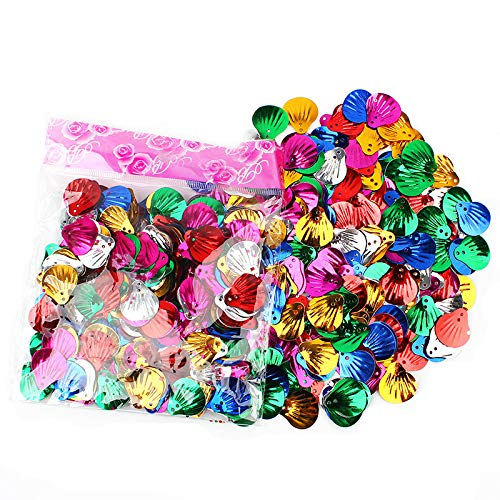 - Sequins and Spangles for Children's Handmade DIY, Creative Color Beads Sequins Greeting Card Decoration Gold Foil Iron Slices (Seashell)