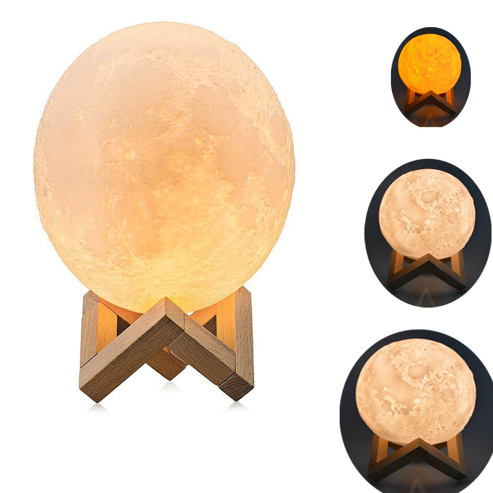 3D Moon Lamp,Newerpoint 4.7 inch 3D Printing Moon Light, Warm and Cool 3 Colors Dimmable Adjustablbe Brightness Touch Sensor Control Baby Night Light LED, Home Decorative Lights with Wooden Stand