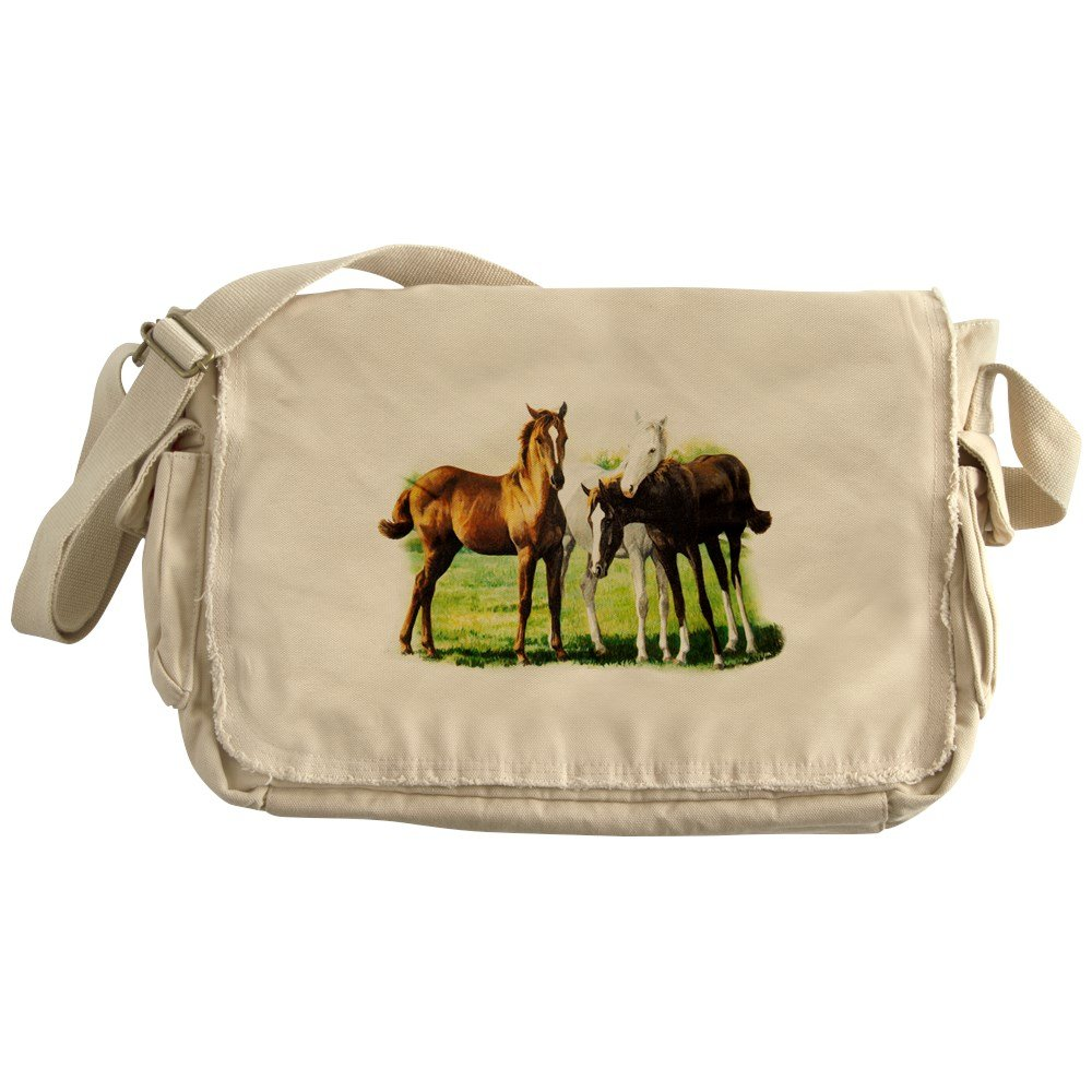 Royal Lion Khaki Messenger Bag Trio of Horses