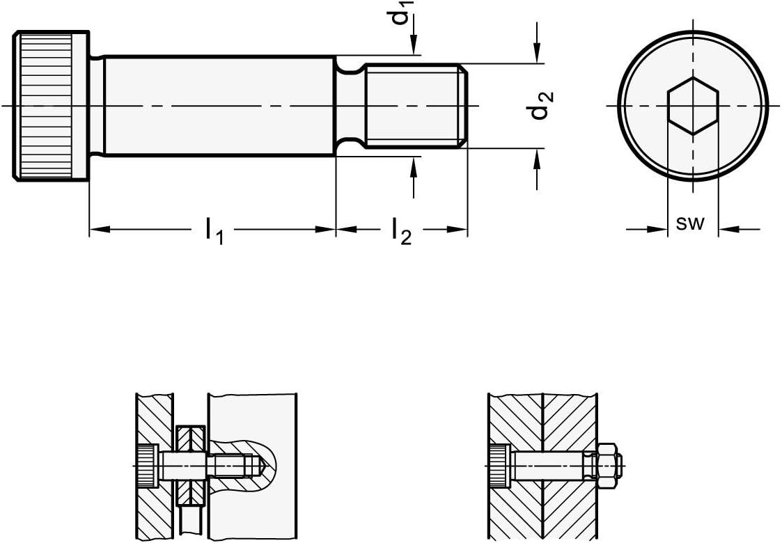 5 St/ück Ganter Normelemente ISO 7379-12-M10-16 7379-12-M10-16-Passschrauben mit Bund L/änge l1: 16mm Silber