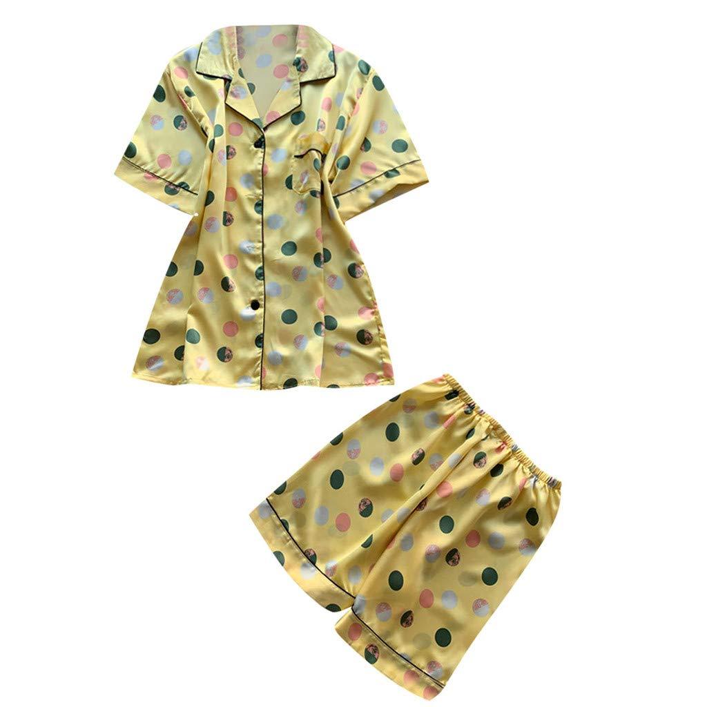 Huifa Women Summer Pajamas Short Sleeve Shorts Pajamas Fashion Loose Sleepwear Homewear (Yellow,M)