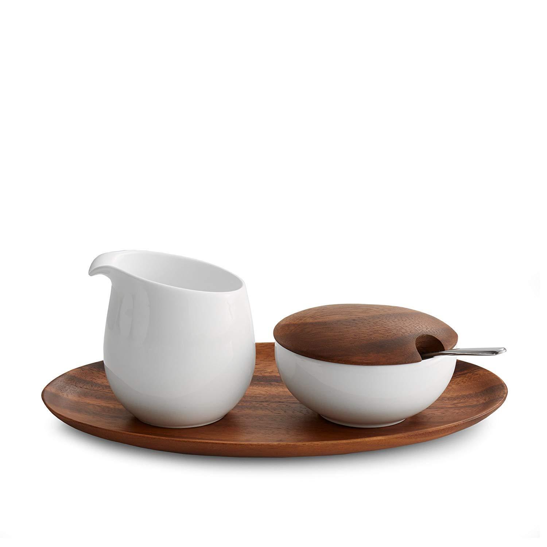 Nambé MT0866 Skye Sugar Creamer Set, Bowl: 4.5'' L x 3'' W x 2.75'' H, (1) Pitcher: 3.5'' L x 2.75'' W x 4'' H, (1) Serving Tray: 11.25'' L x 5.25'' W x 0.75'' H, White by Nambé