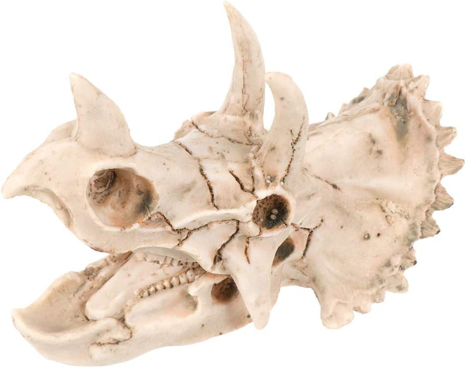 POPETPOP Aquarium Decorations Artificial Skeleton Skull Decor Fish Tank Ornaments Resin Craft for Fish Reptiles Turtle Hideout Shelter - Triceratops Skeleton Design