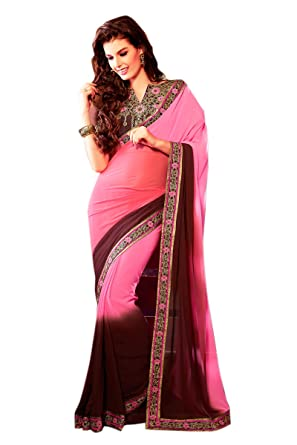 8d16fb46fb B3Fashion Party wear baby pink & coffee brown shaded Georgette saree with  embroidered floral border & exquisite heavy embroidered blouse: Amazon.in:  ...
