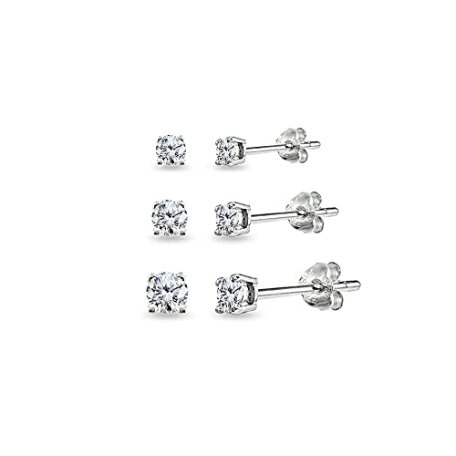 a64d83de4d999 3 Pair Set Sterling Silver Cubic Zirconia Round Stud Earrings Set, 3mm 4mm  5mm