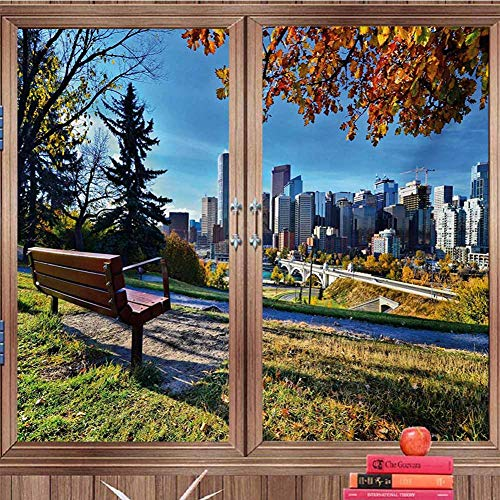 DearestLove Static Decorative Privacy Window Film City,Park Bench Overlooking The Skyline of -