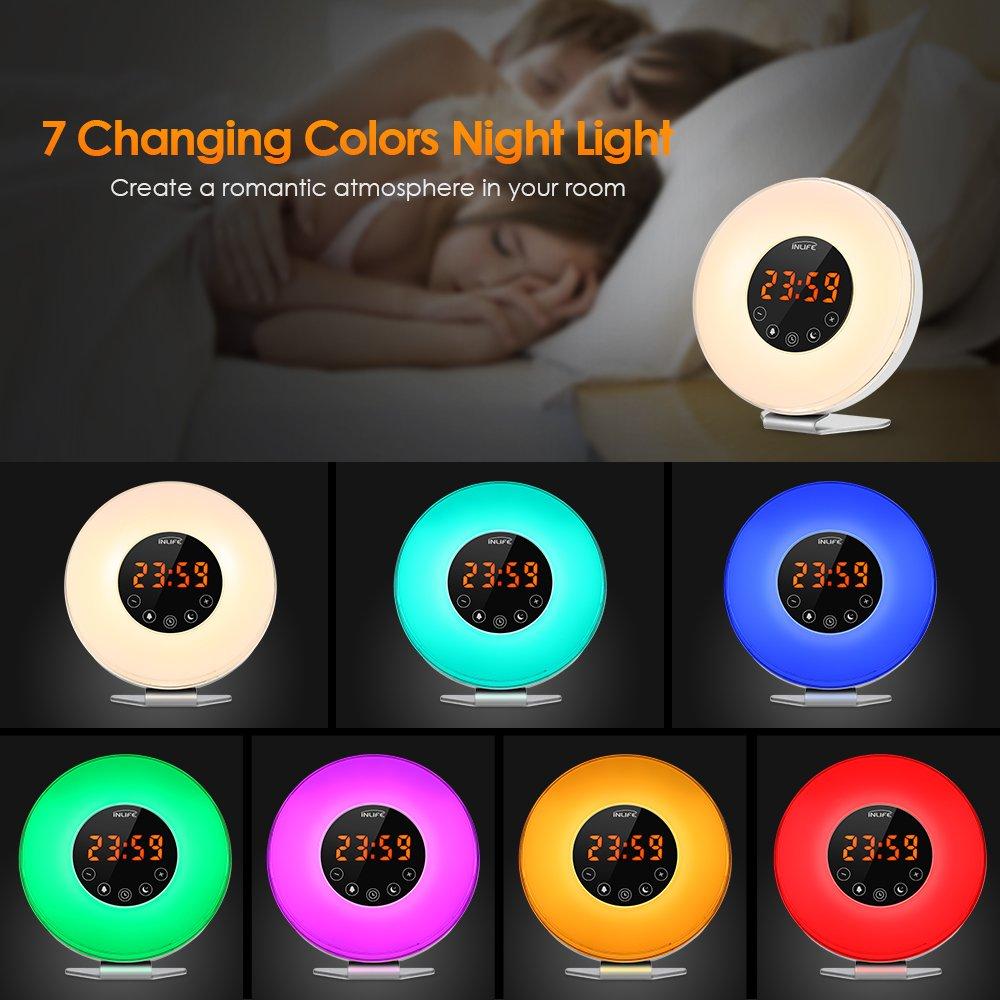 Amazon.com: INLIFE Wake up Light Sunrise Alarm Clock Bright LED ...