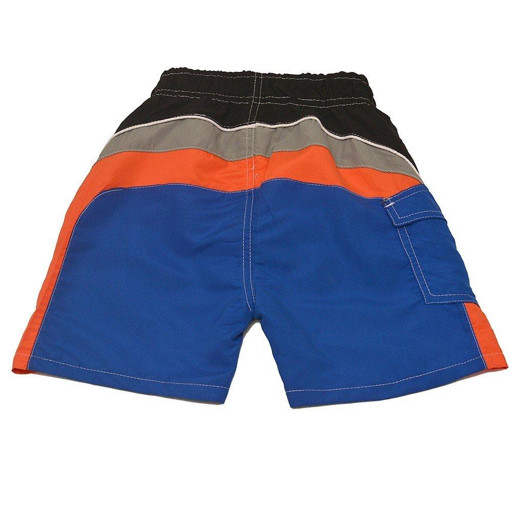 Quad Seven Little Boys Royal Blue Orange Black Paneled Swim Trunks 2T-7