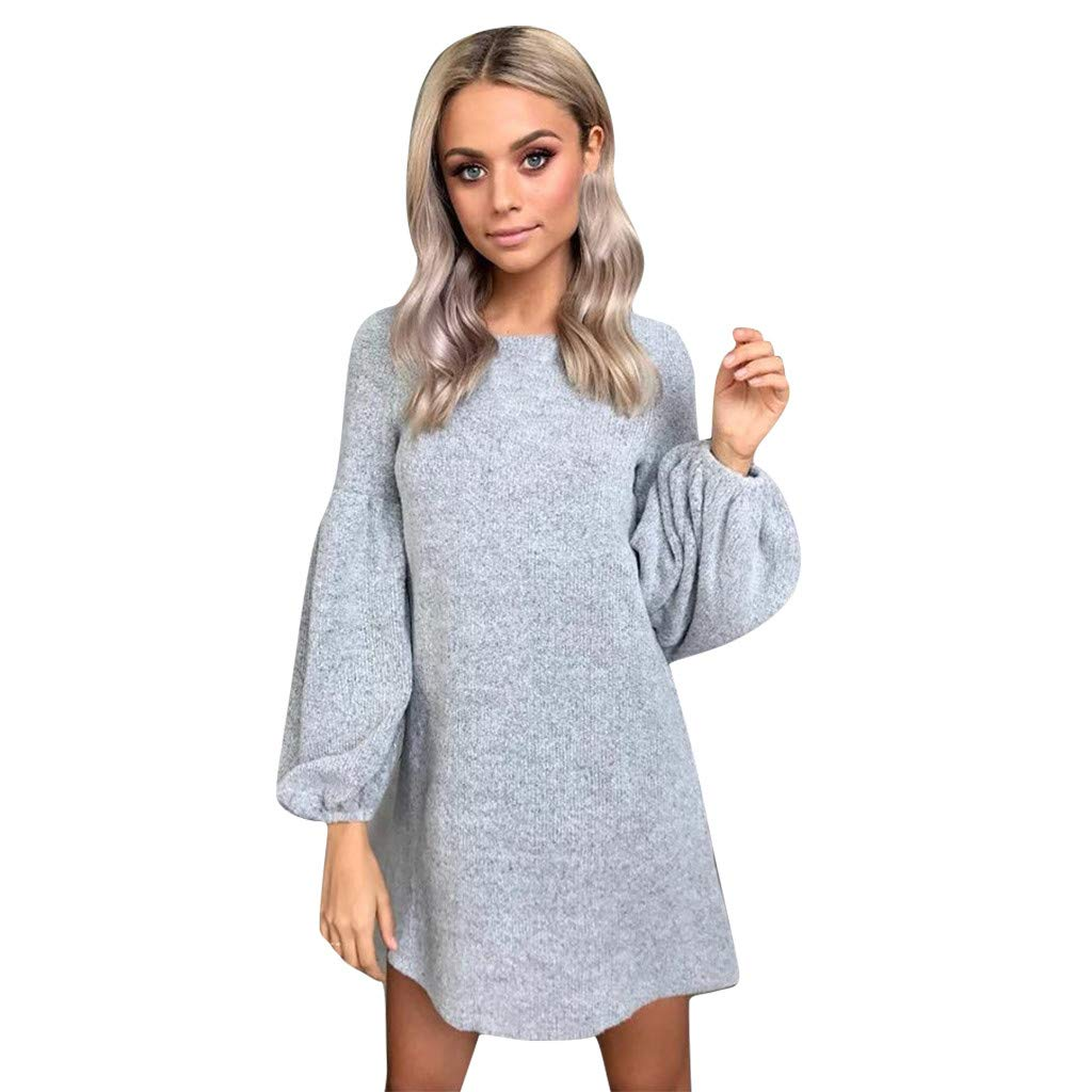 TRENDINAO Knitted Mini Dress Dress, Women Casual Puff Sleeve Solid Crew Neck Long Sleeve Autumn Party Dresses Gray by TRENDINAO
