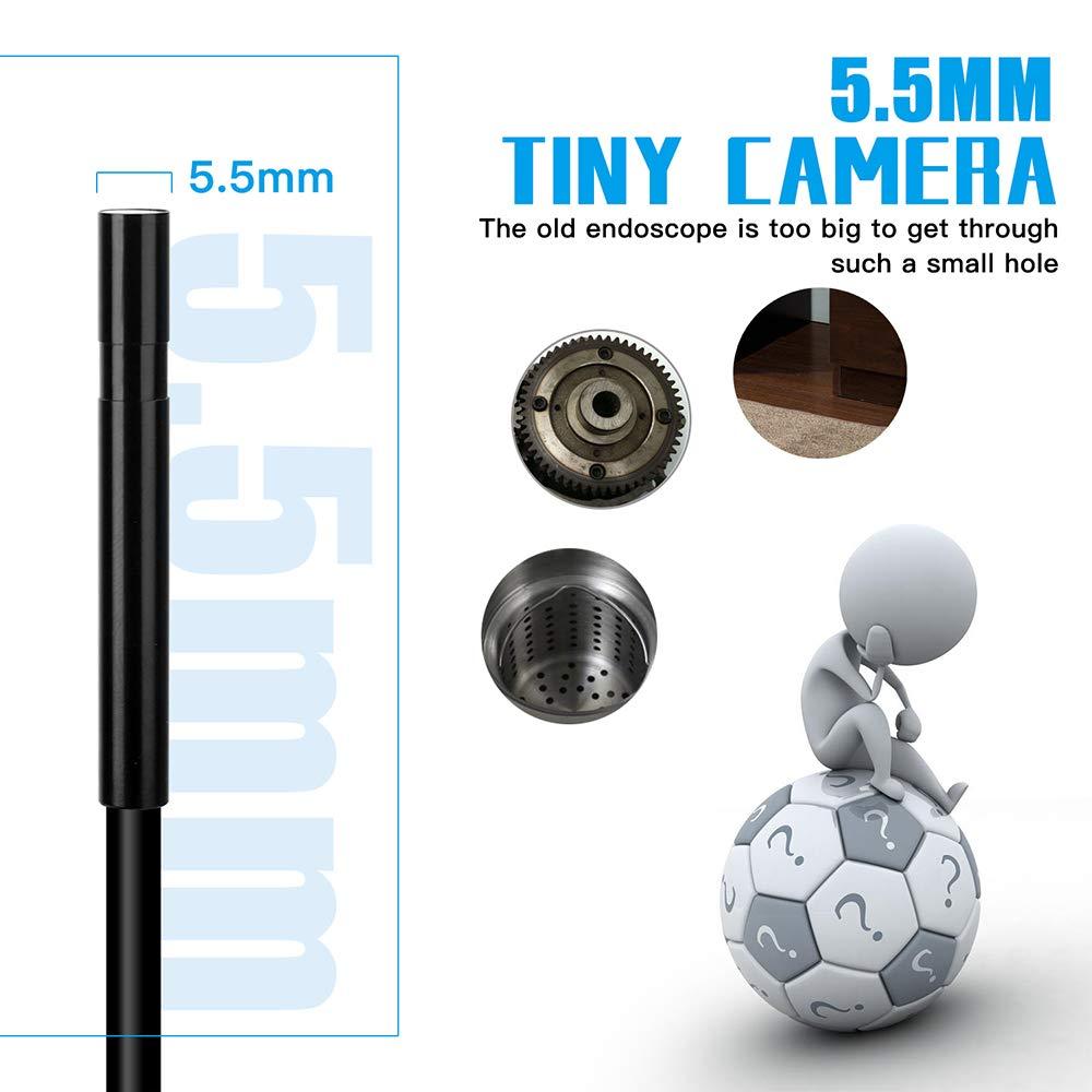 Leepesx F220 Telecamera per ispezione boroscopio WiFi endoscopio industriale da 5,5 mm 6 LED integrati IP67 impermeabile per smartphone iOS//Android