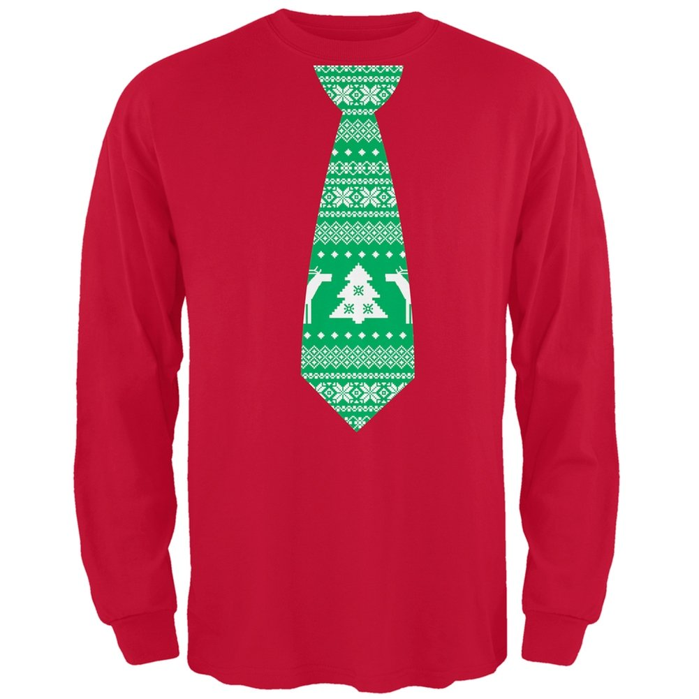 Ugly Christmas Sweater Tie Red Adult Long Sleeve T-Shirt Tee' S Plus