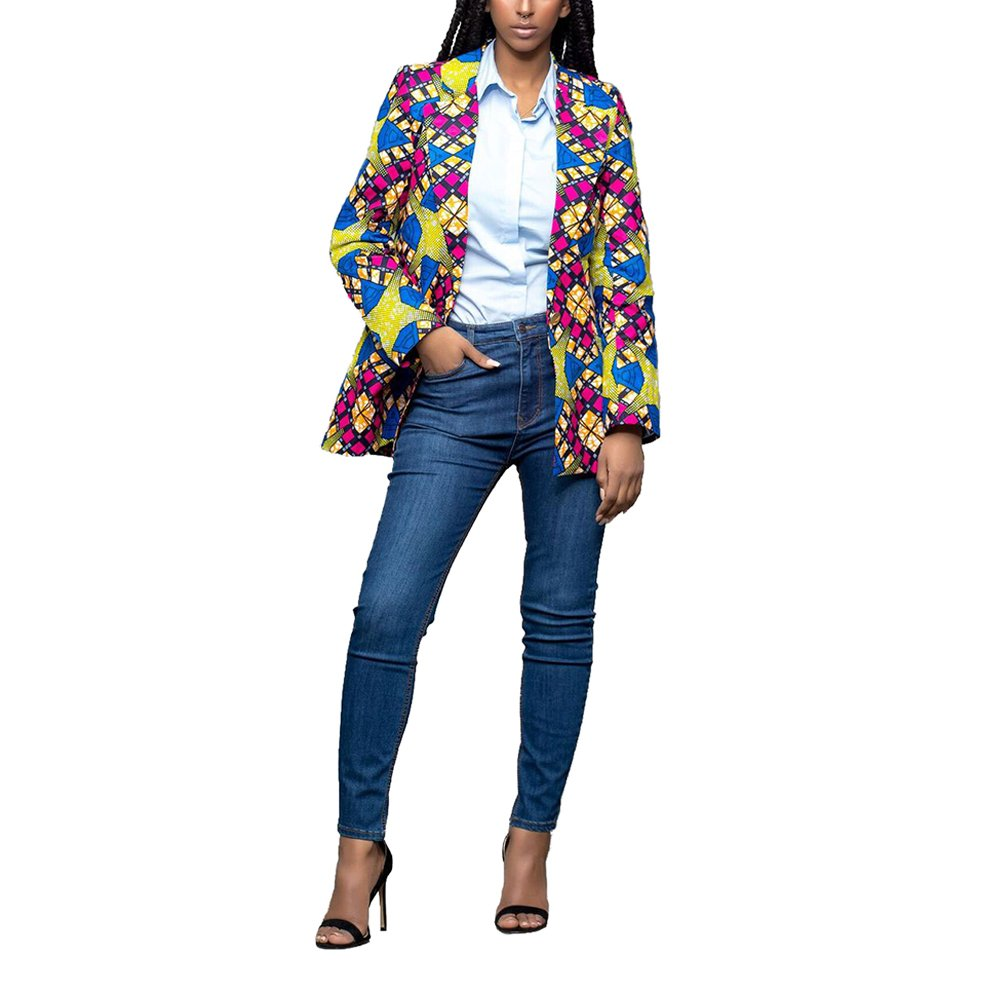 Lrud Women's Casual Long Sleeve Dashiki African Floral Print Blazer Jacket Coat Suits Blue S by Lrud (Image #3)
