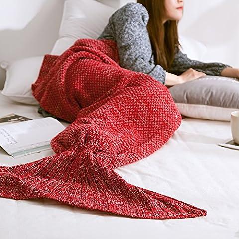 Mermaid Tail Blanket Handmade Soft Sleeping Bag Crochet Knitting Living Room Quilt All Seasons Sofa Snuggle Rug Best Fashion Birthday Christmas Gift (205x95cm/80x38in) (Super Easy Halloween-kostüme Für Kinder)