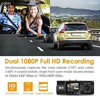 Vantrue N2 Pro Uber Dual Dash Cam Dual 1920x1080P Infrared Night Vision Front and Inside Dash Camera, 2.5K 2560x1440P Single Front, 310° Car Camera, 24hr Parking Mode, Motion Sensor, Support 256GB max
