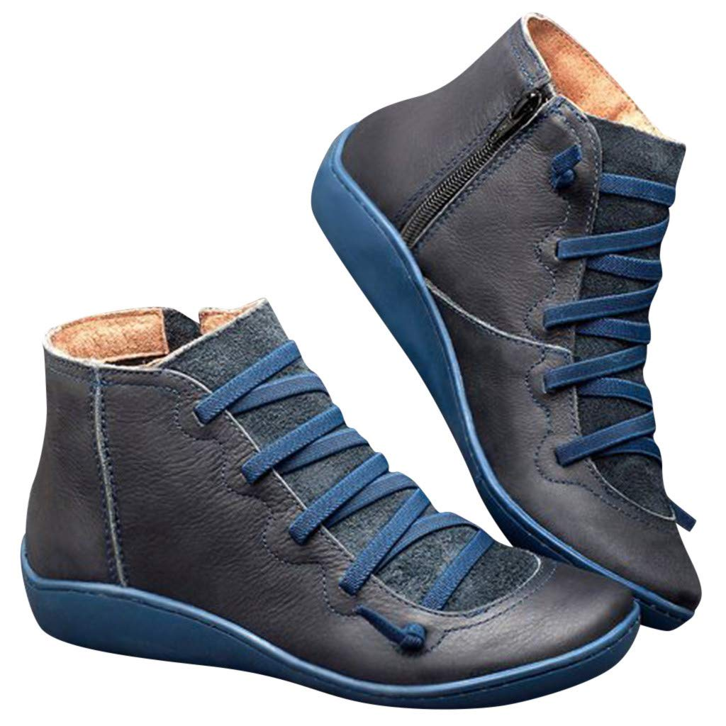Kiyotoo Shoes Womens Flat Heel Boot Soft Arch Support Ankle Boot Casual Lace Up Booties Fashion Side Zipper Platform Wedge Booties Blue by Kiyotoo Shoes