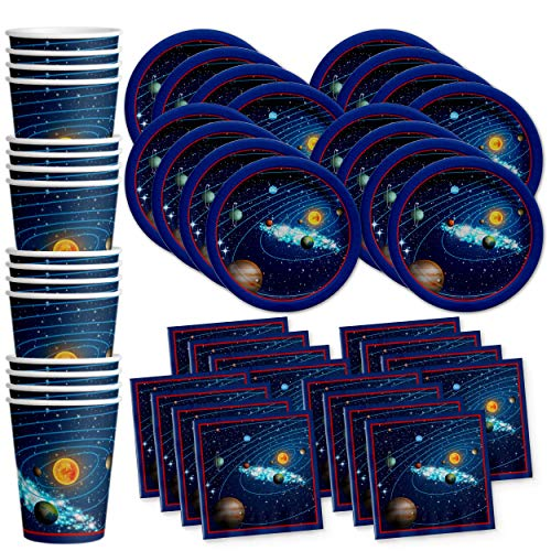 Solar System Outer Space Birthday Party Supplies Set Plates Napkins Cups Tableware Kit for 16 by Birthday Galore (Best Space Jam Juice)