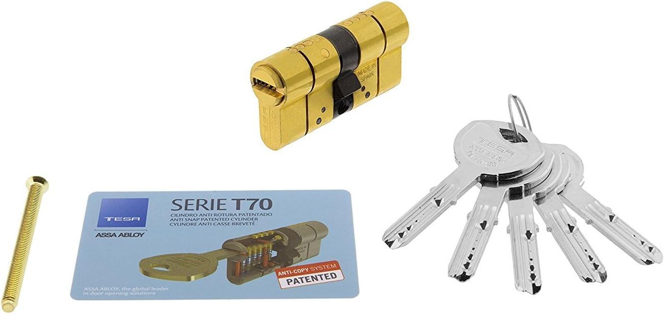 Tesa Assa Abloy Cilindro de Alta Seguridad, Llave - Leva Larga, Latonado, 35x35 mm