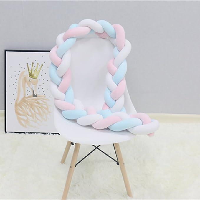 Amazon.com: Cojín largo de nudo trenzado para cuna de bebé ...