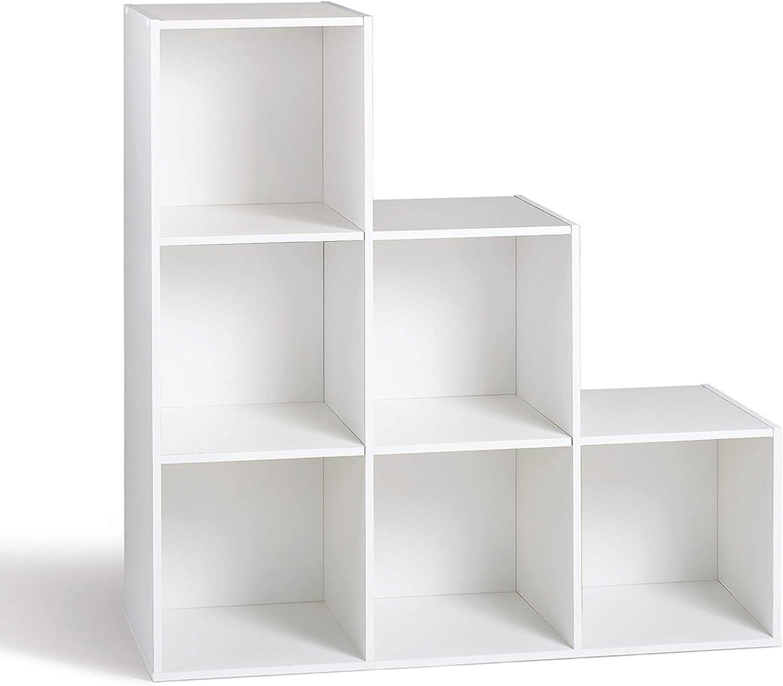compo meuble de rangement 6 casiers en escalier bibliotheque etageres cubes blanc 93 x 29 5 x 93 cm