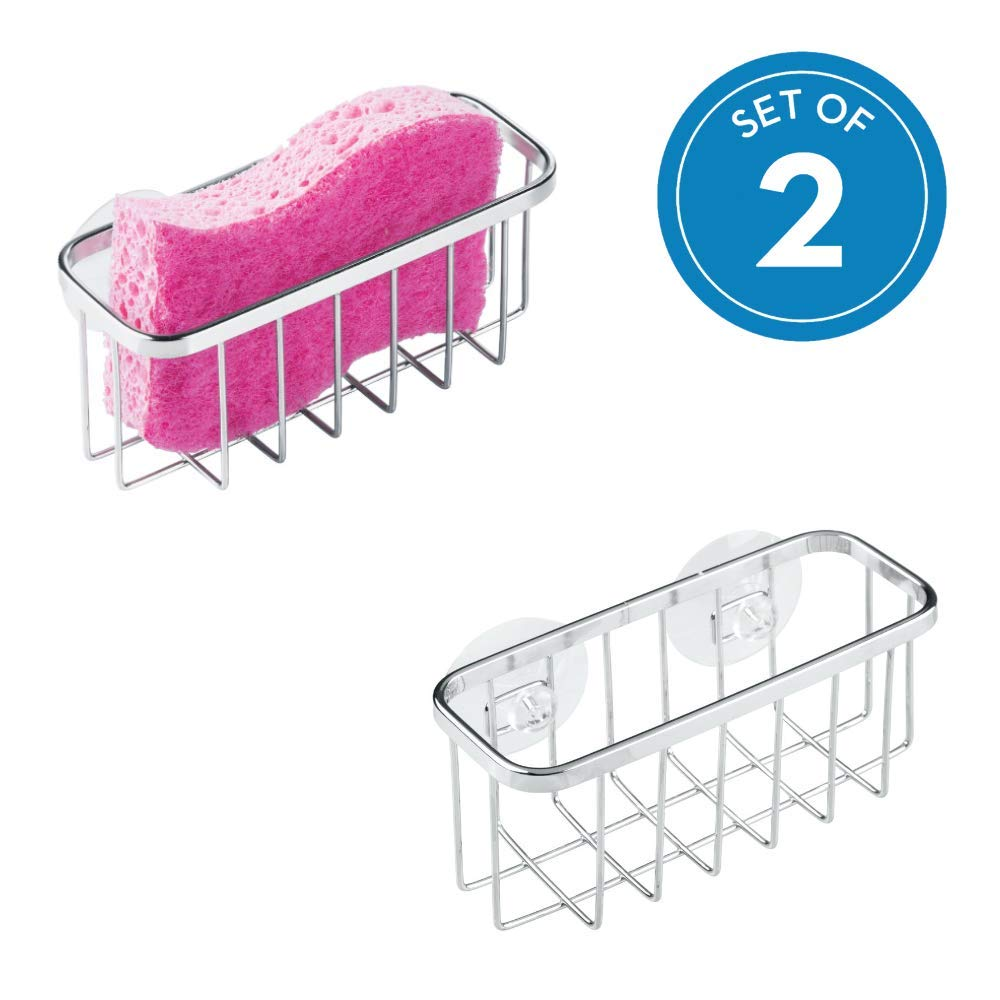 InterDesign Gia Sink Suction Holder for Sponges, Scrubbers, Soap, Kitchen, Bathroom, Set of 2 Stainless Steel