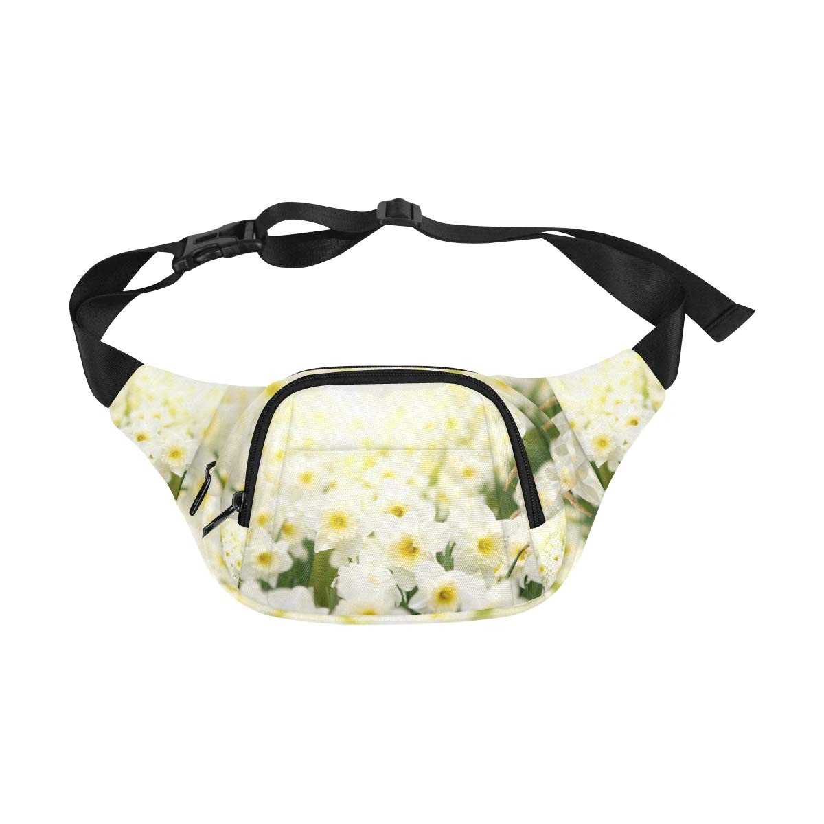 Beautiful White Daffodil Flower Fenny Packs Waist Bags Adjustable Belt Waterproof Nylon Travel Running Sport Vacation Party For Men Women Boys Girls Kids