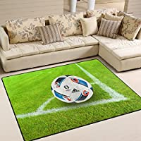 DEYYA Contemporary Soccer In Grass Sport Design Non-Slip Area Rug, Cozy Shag Collection Solid Shag Rug Contemporary Living & Bedroom Soft Carpet Rug, 525 L x 4 W