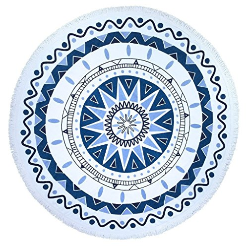 European Style Thin Polyester Fiber Beach Yoga Towel Round Bed Sheet Tapestry Tablecloth, 60 inches diameter