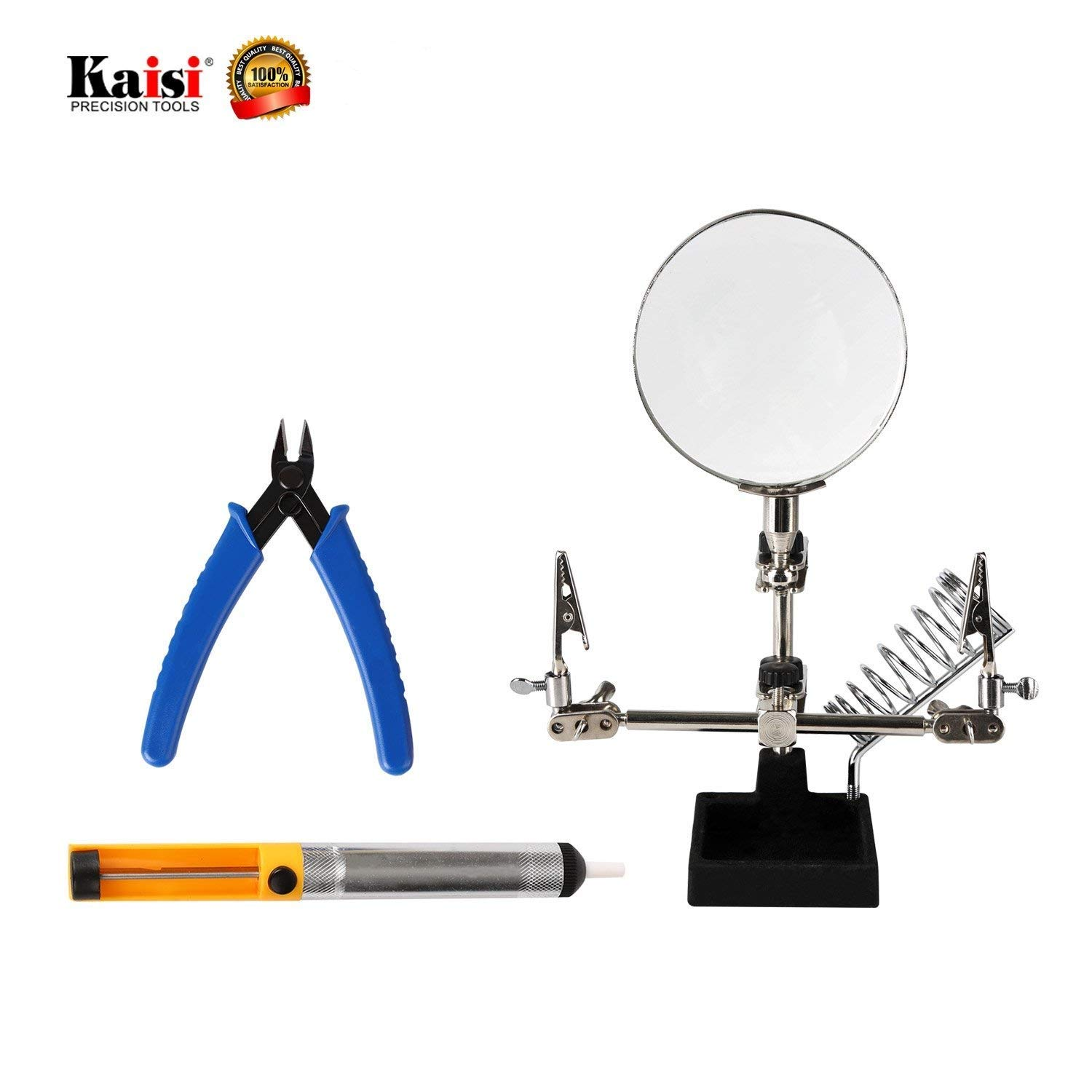 Repair Tools 3 in 1 Repair Set Helping Hands Magnifying Glass, Desoldering Pump and Wire Cutter Pliers with High Precision Professional and Ideal Soldering Tools By Kaisi